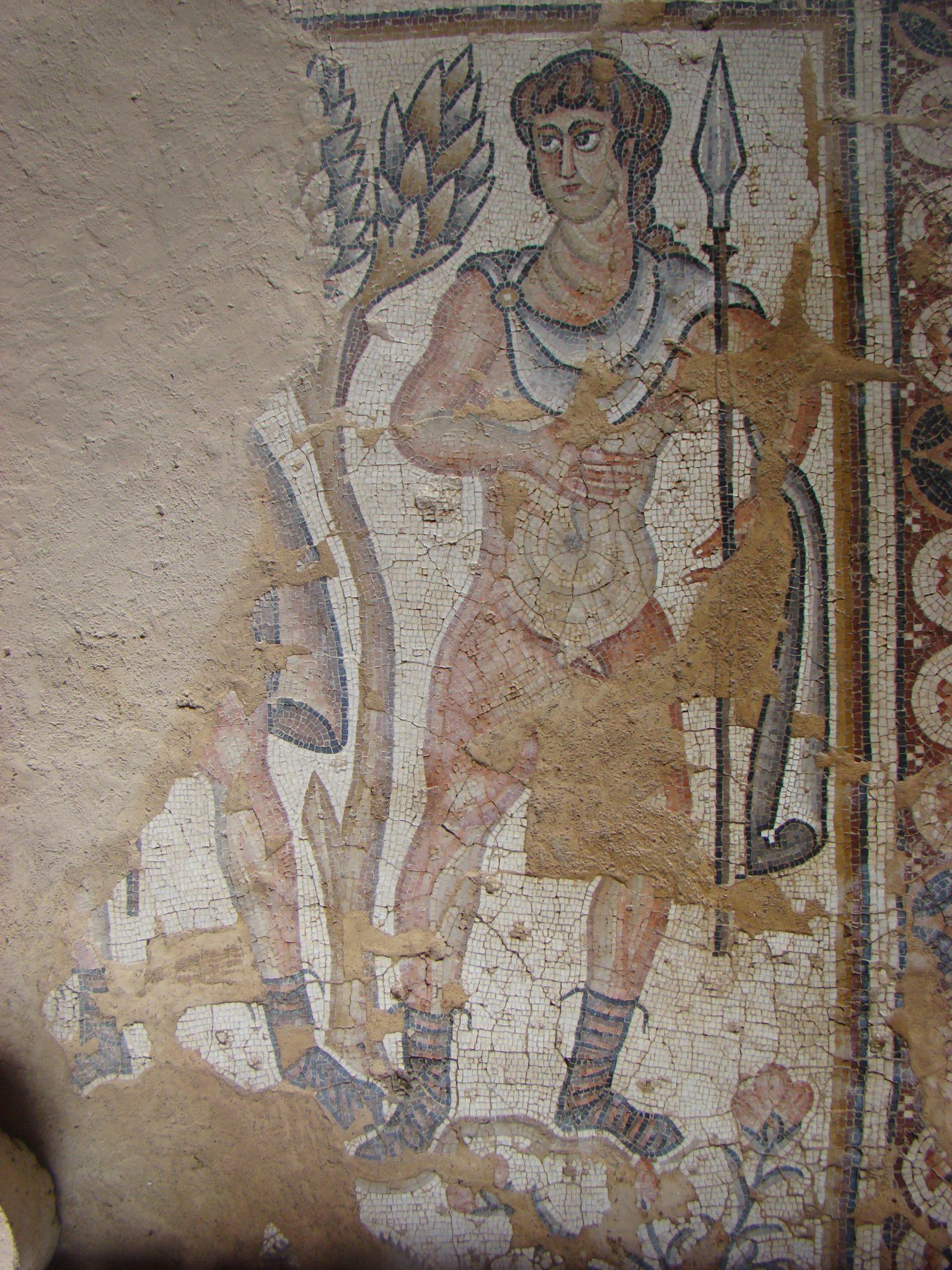 """פסיפס הצידים בבית חג הנילוס בגן לאומי ציפורי (צילום: ד""""ר ענת אביטל)"""