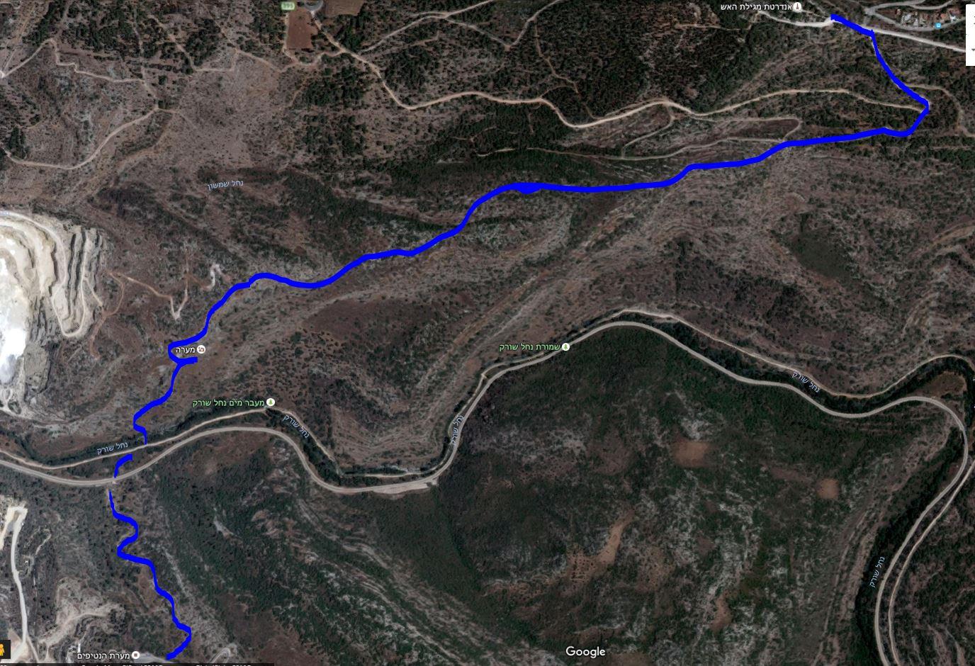 מפת סימון שבילים מאנדרטת מגילת האש אל מערת הנטיפים