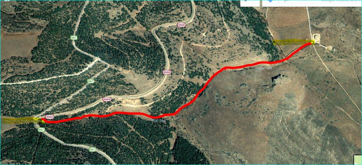מפת מסלול אדום בנחל יצפור