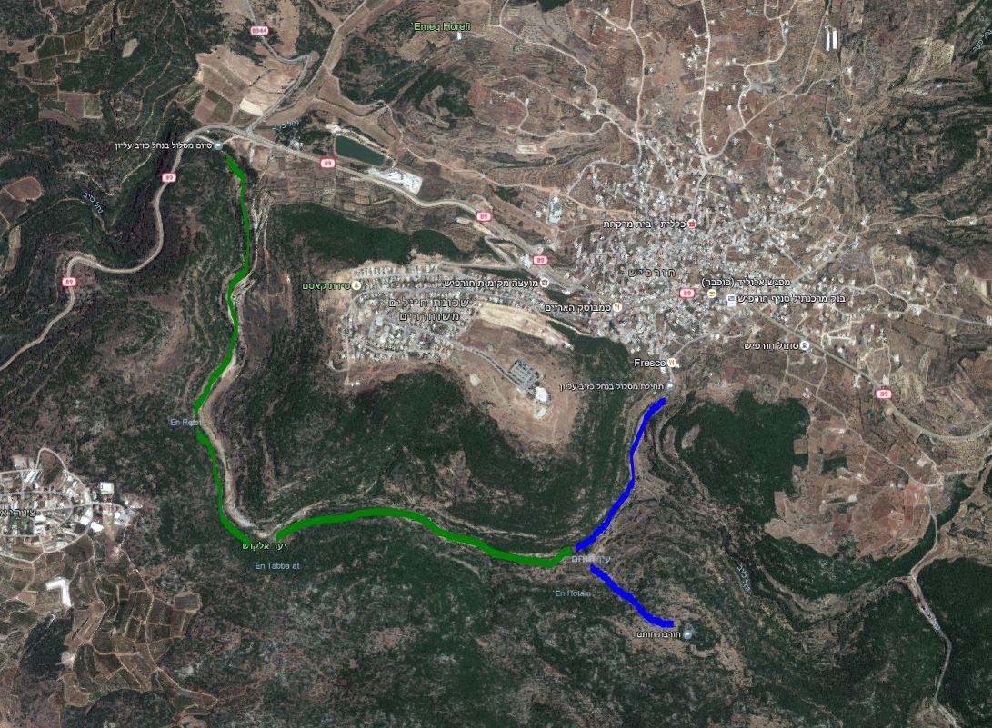 מפת סימון שבילים להליכה בנחל כזיב עליון