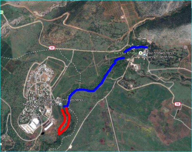 מפת מסלול הטיול בבניאס הארוך