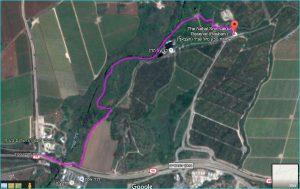 מפת מסלול שביל ישראל בנחל שניר