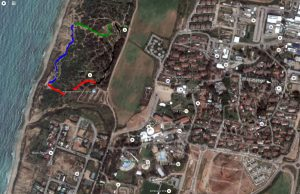 מפת מסלול ההליכה בגן לאומי חוף השרון