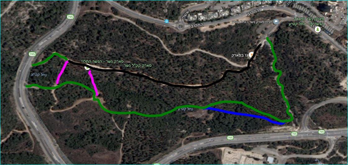 מפת מסלול טיול בפארק נשר נחל קטיע