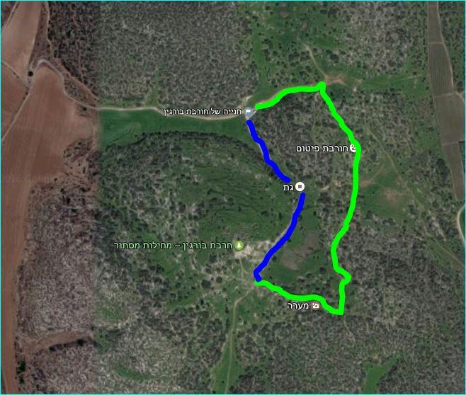 מפת מסלול טיול בחורבת בורגין