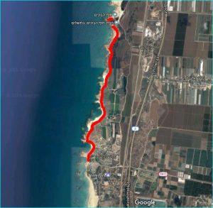מפת מסלול טיול מחוף דור-נחשולים לחוף הבונים