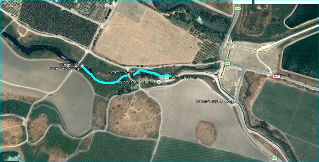 מפת מסלול מים בנחל קיבוצים