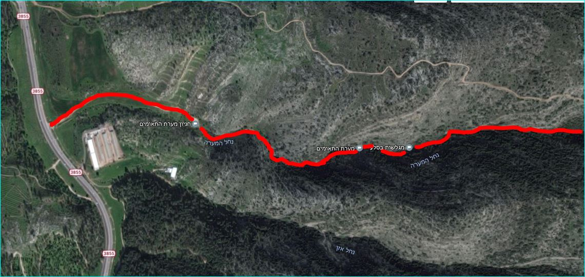 מפת מסלול הטיול בנחל המערה אל מערת התאומים