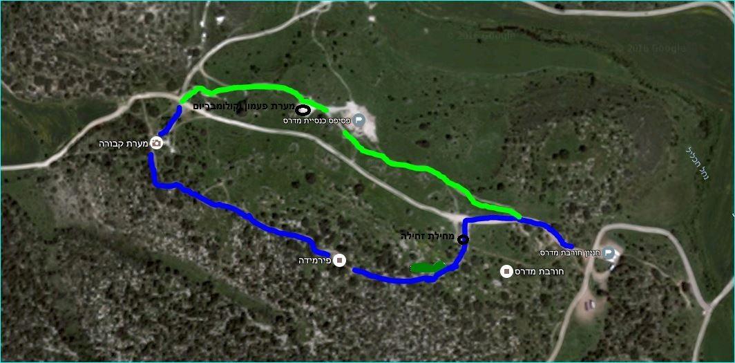 מפת מסלול הטיול בחורבת מדרס