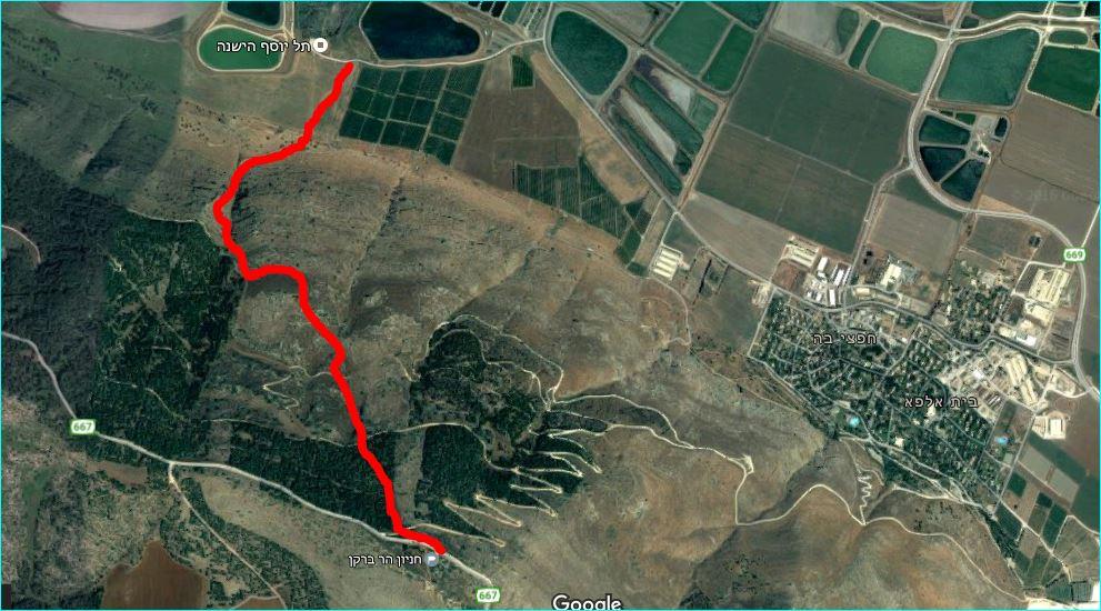 מפת סימון שבילים להליכה בעמק הנעלם