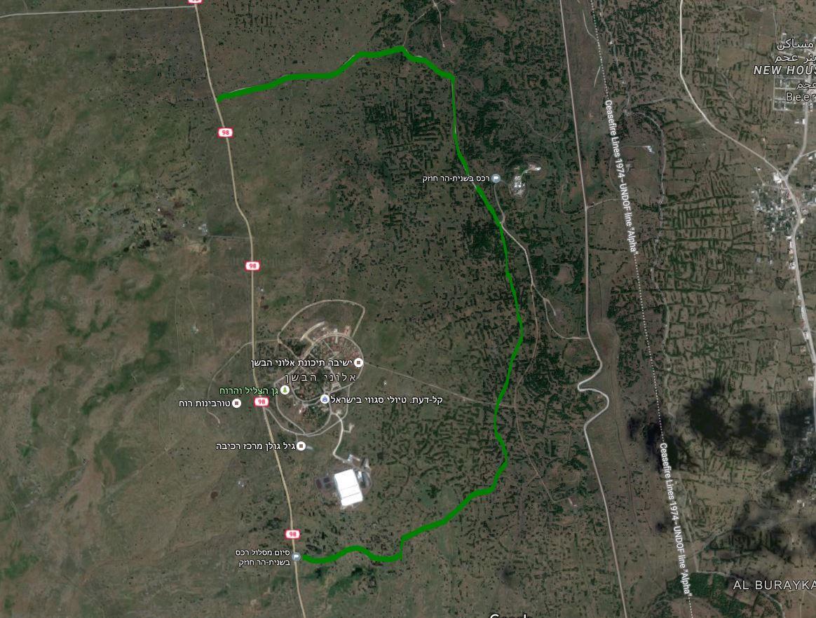 מפת סימון שבילים והליכה בשמורת טבע רכס בשנית הר חוזק
