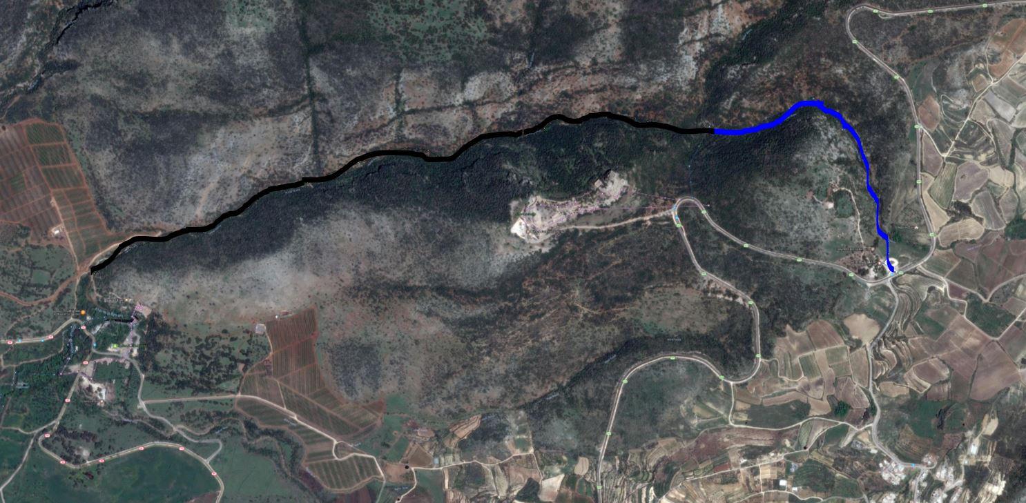 מפת סימון שבילים לטיול בנחל חזורי ארוך ונחל גובתה