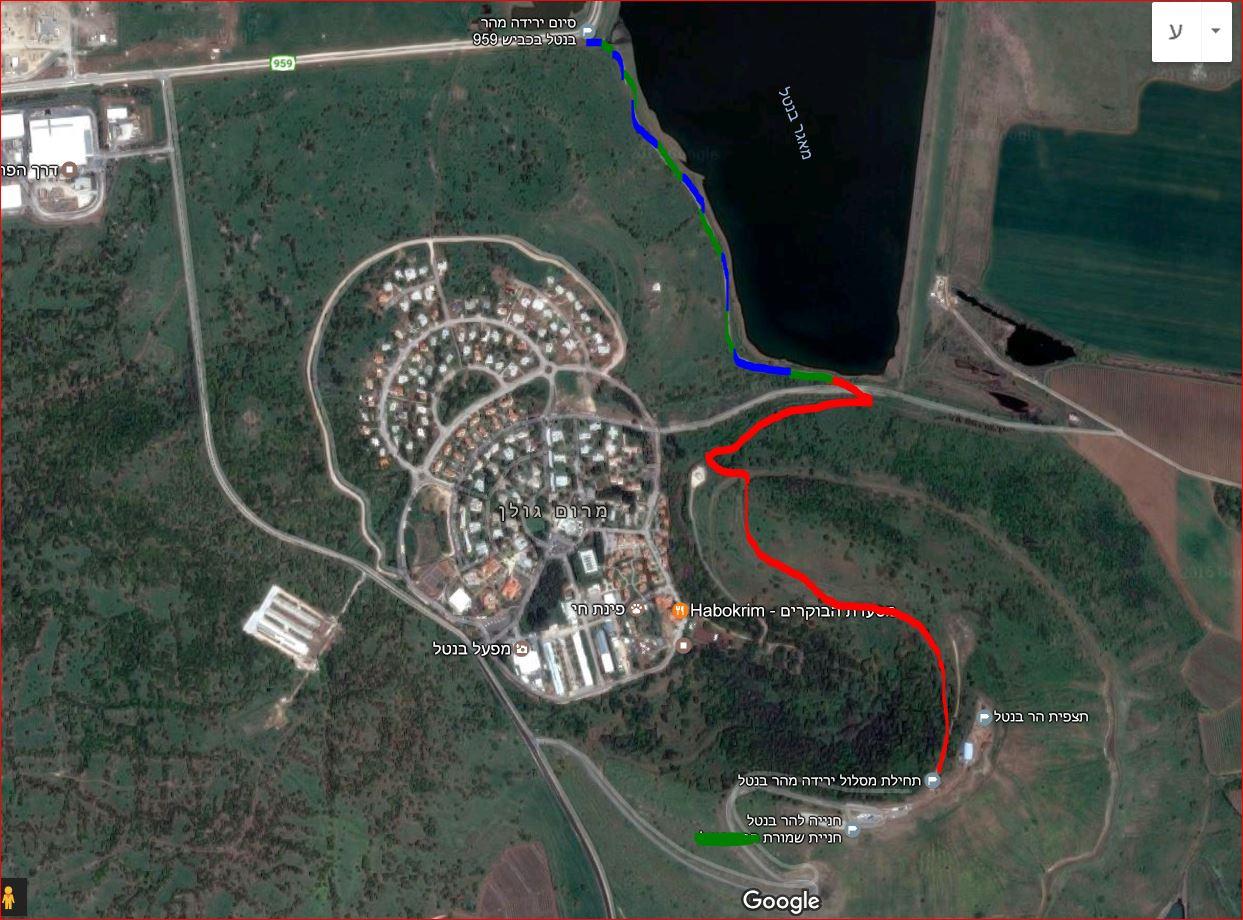 מפת סימון שבילים לירידה מהר בנטל למאגר בנטל