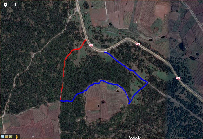 מפת סימון שבילים יער אודם, שביל הגולן