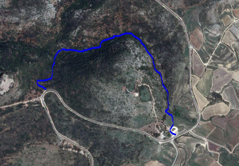 מפת סימון שבילים לטיול בנחל חזורי קצר