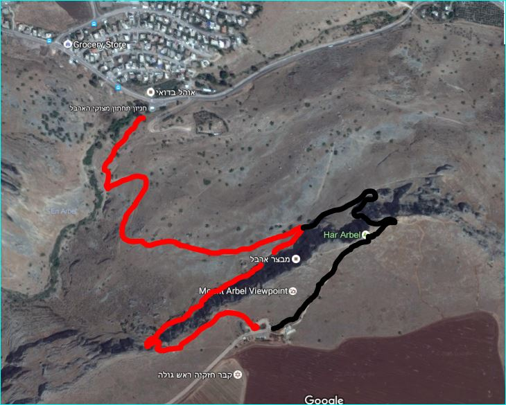 מפת סימון שבילים לירידה במצוקי הארבל
