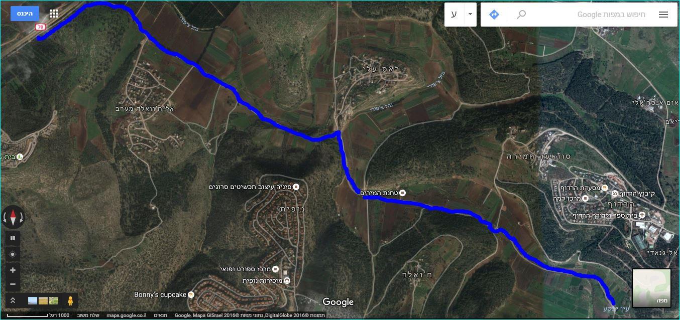מפת סימון שבילים, סימון כחול בנחל ציפורי