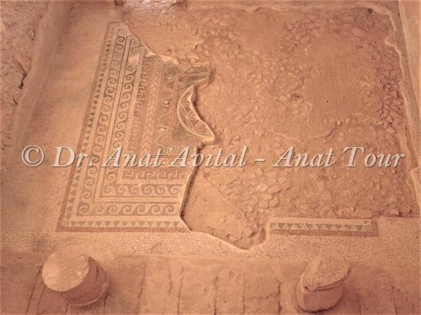 """פסיפס מרהיב מחדר ההסבה בארמון המערבי של הורדוס במצדה, צילום: ד""""ר ענת אביטל"""