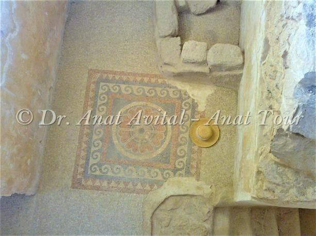 """פסיפס חדר הרחצה בארמון המערבי של הורדוס במצדה, צילום: ד""""ר ענת אביטל"""