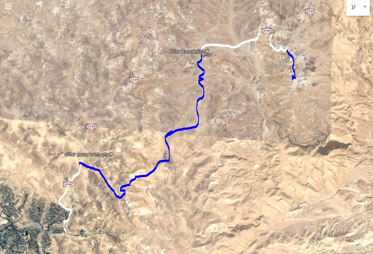 מפת מסלול נסיעה מערד לX4הר קנאים ברכב שטח 4