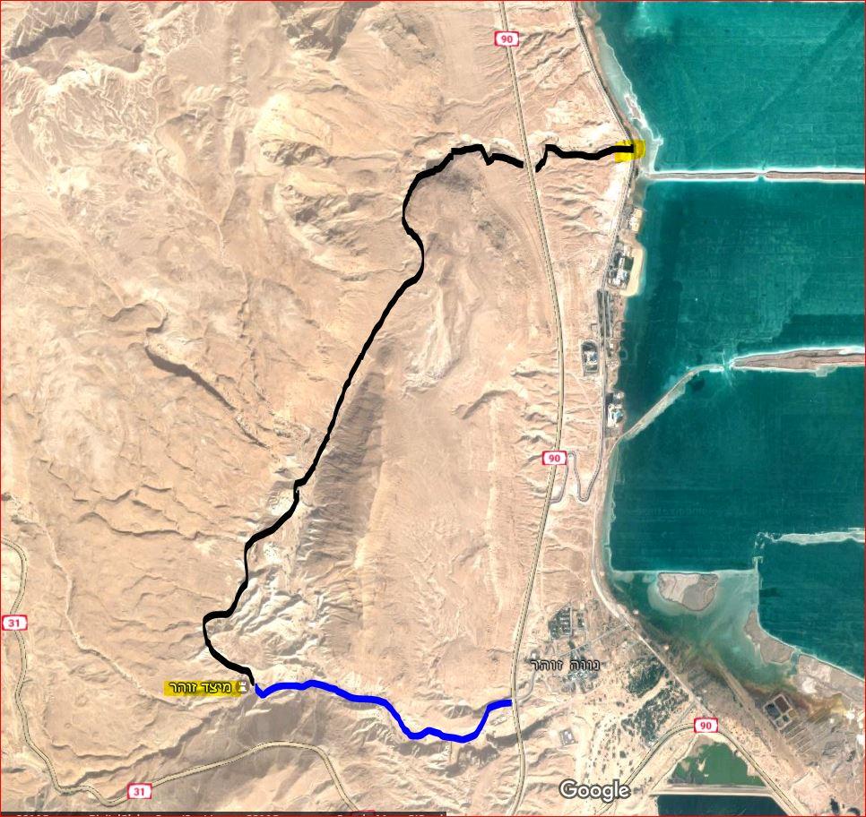מפת מסלול טיול רגלי בנחלים זוהר - יזרח - רום