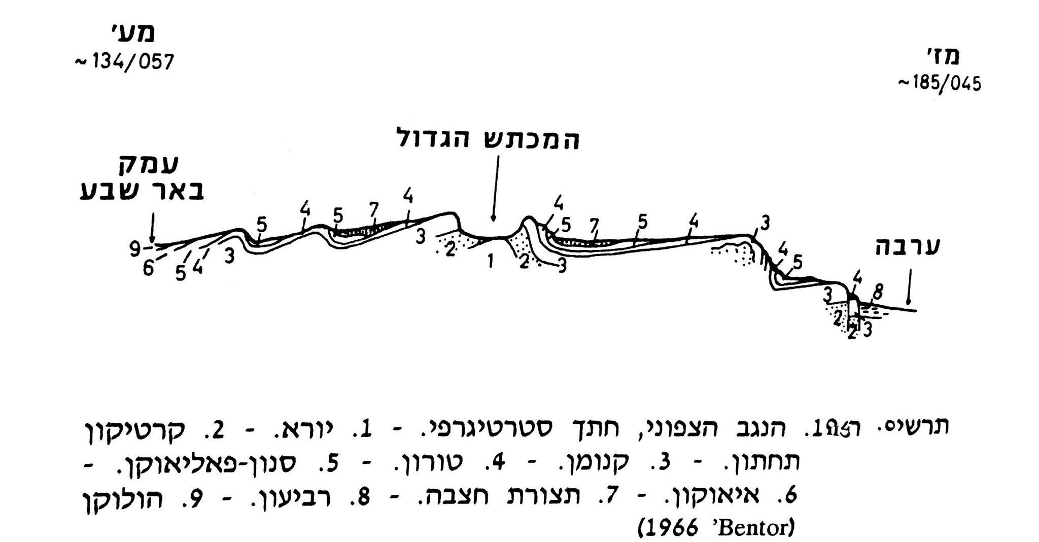תרשים חתך במכתש גדול (גיאומורפולוגיה של ארץ ישראל, ד' ניר 1989, עמ' 181)