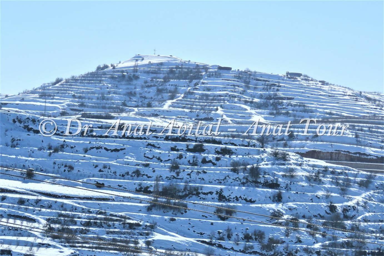 """הר כרמים מעל ברכת רם בצפון הגולן בשלג, צילום: ד""""ר ענת אביטל"""