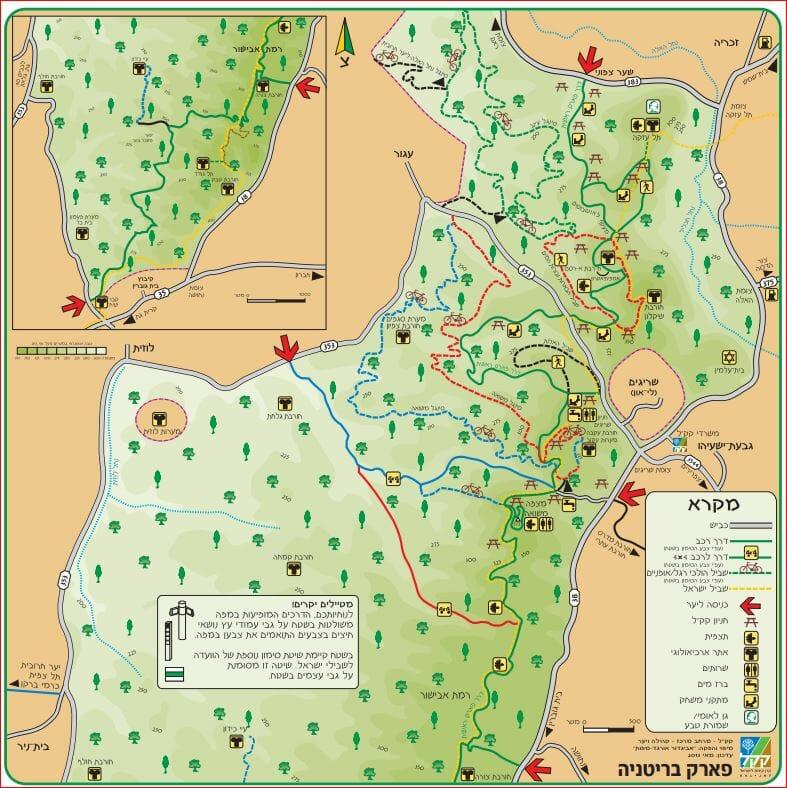 """מפת קק""""ל פארק בריטניה, עזקה, משואה, רמת אבישור"""