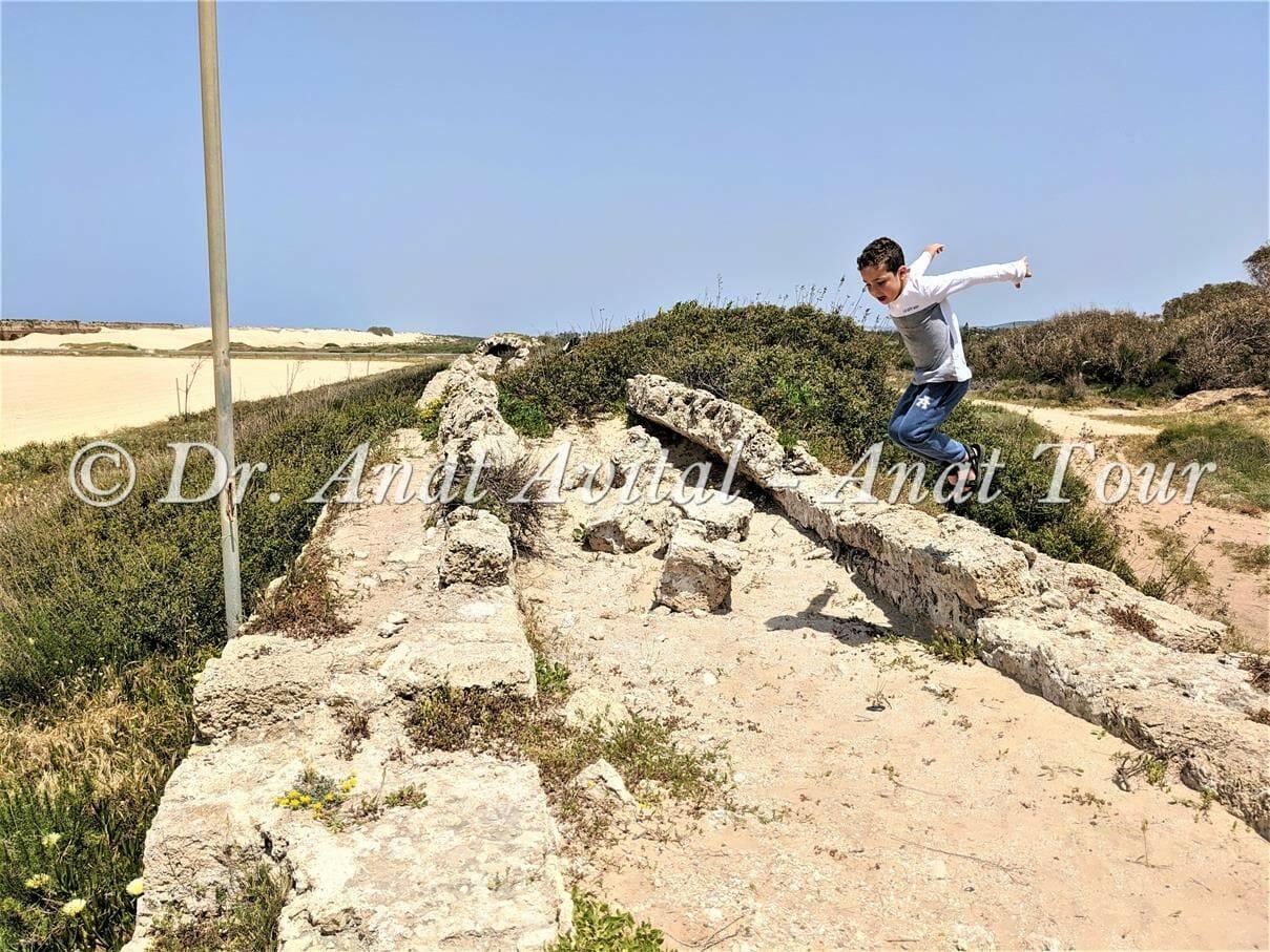 """האמה הרומית הנמוכה בחוף אקוודוקט קיסריה, צילום: ד""""ר ענת אביטל"""