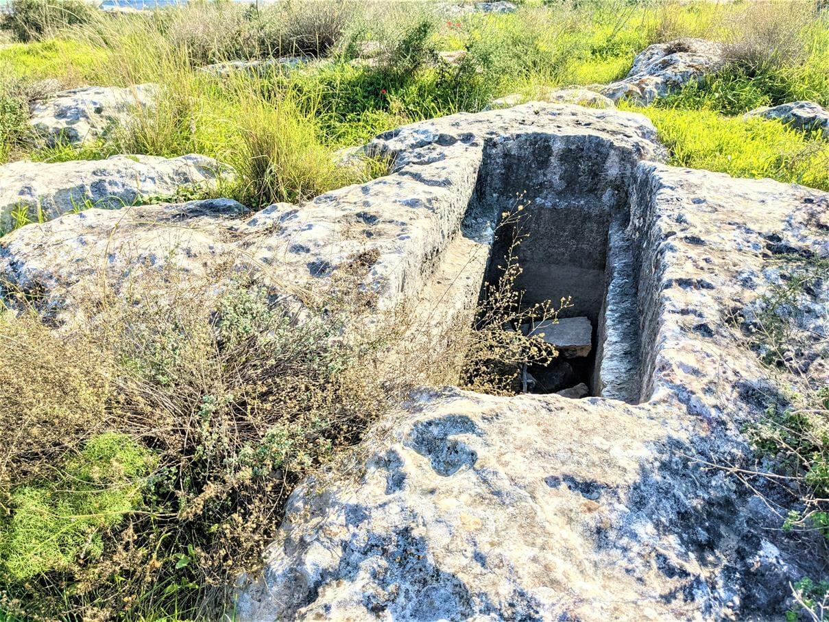 """קבר ארגז חצוב בסלע, חורבת נכס, צילום: ד""""ר ענת אביטל"""