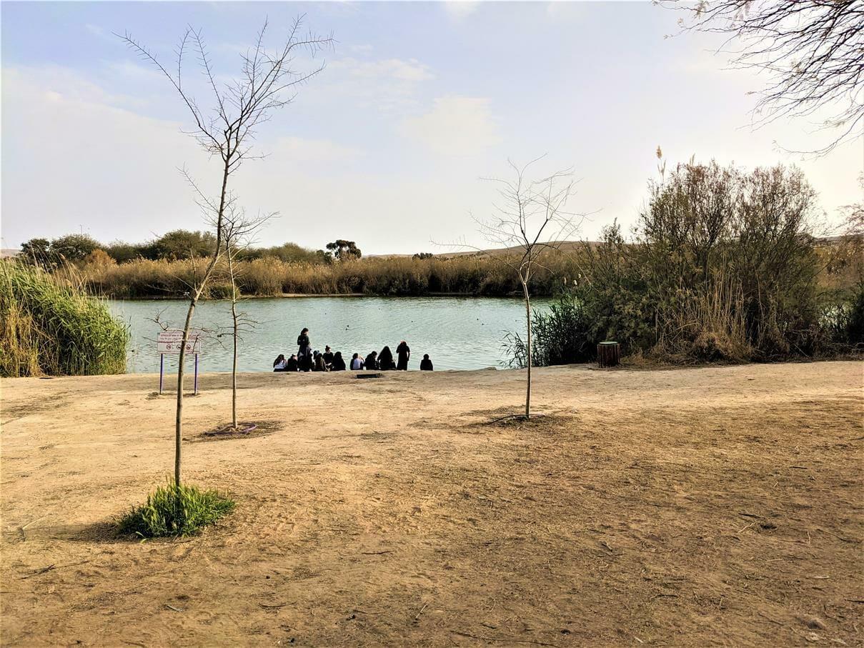 """שלוות אחר הצהריים בטיול שנתי לסמינר בנות חרדיות בתיכון, פארק אגם ירוחם, צילום: ד""""ר ענת אביטל"""
