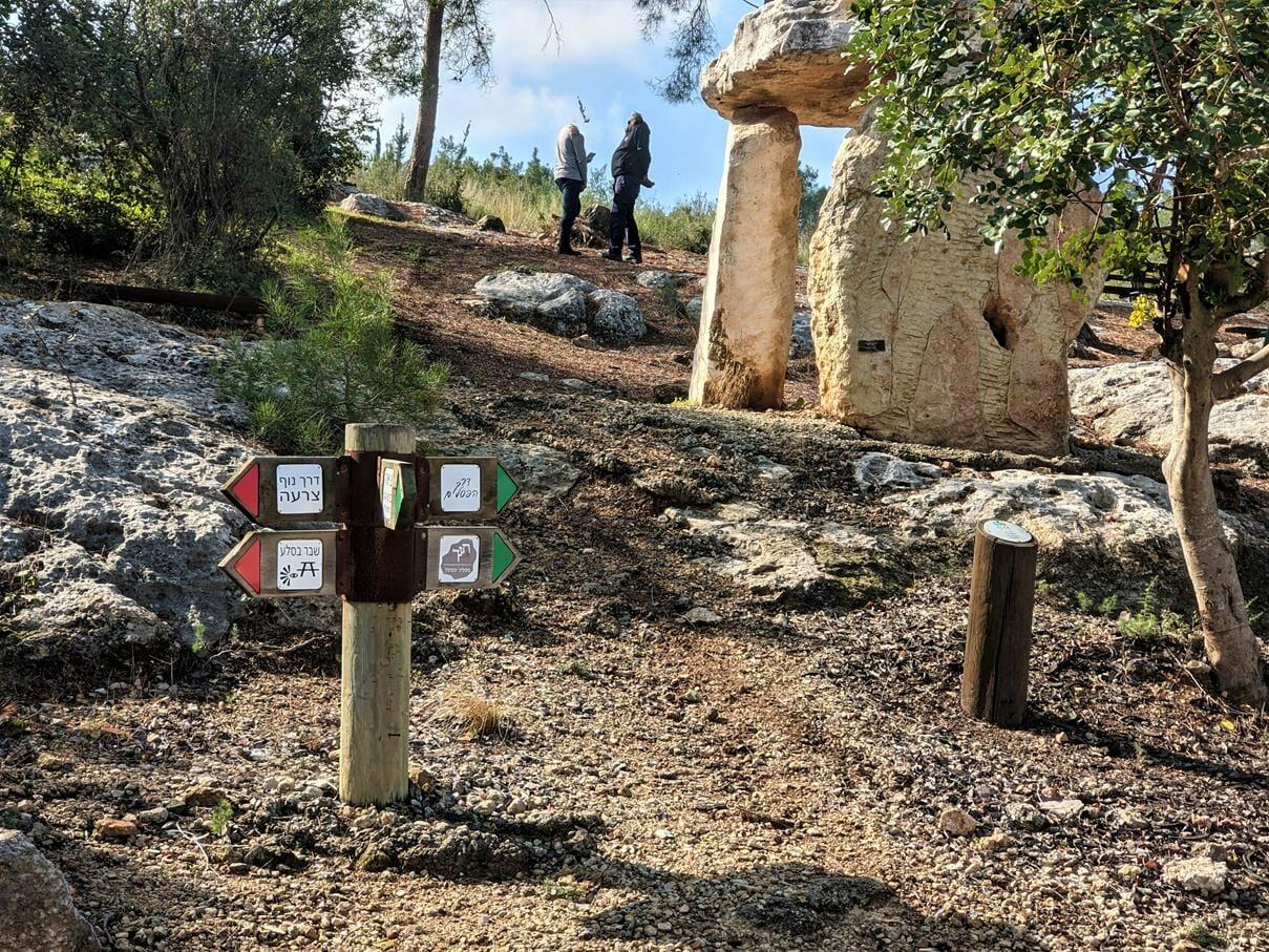 """חניון ופיסול הדמויות בדרך הפסלים, ביער צרעה-יער הנשיא, צילום: ד""""ר ענת אביטל"""