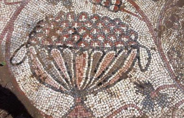 חורבת חנות, על דרך הקיסר בהרי ירושלים: פסיפס ביזנטי צבעוני