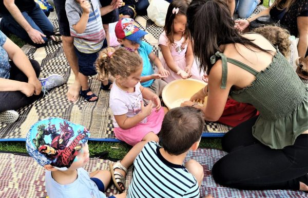 פעילות פיתות על סאג' להורים וילדים של גן שקד ניות ירושלים, יוני 2019